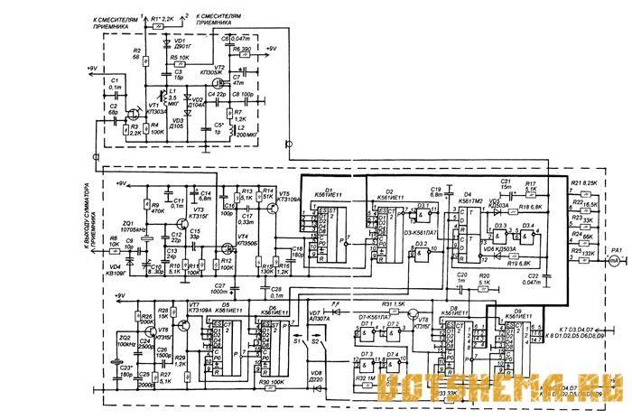 Гетеродинный КВ-приемник не может работать на высокочастотных КВ-диапазонах, так как в делителях частоты.