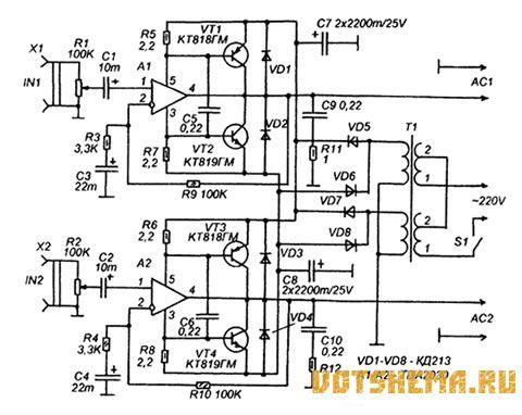 Схема УМЗЧ с усилителем напряжения по схеме с общей базой.  Радиолюбителей интересуют электрические схемы.