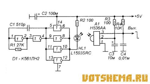 Он излучает ИК-сигнал, промодулированный импульсами частотой около 1000.  Чувствительность дальность действия датчика...