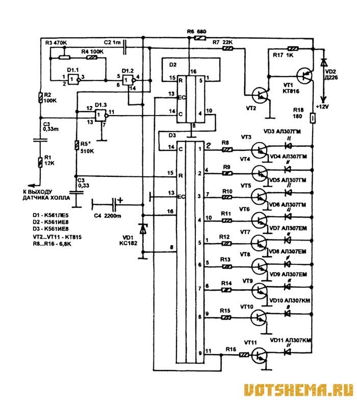 Аналоговый тахометр схема