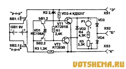 Схема испытателя транзисторов