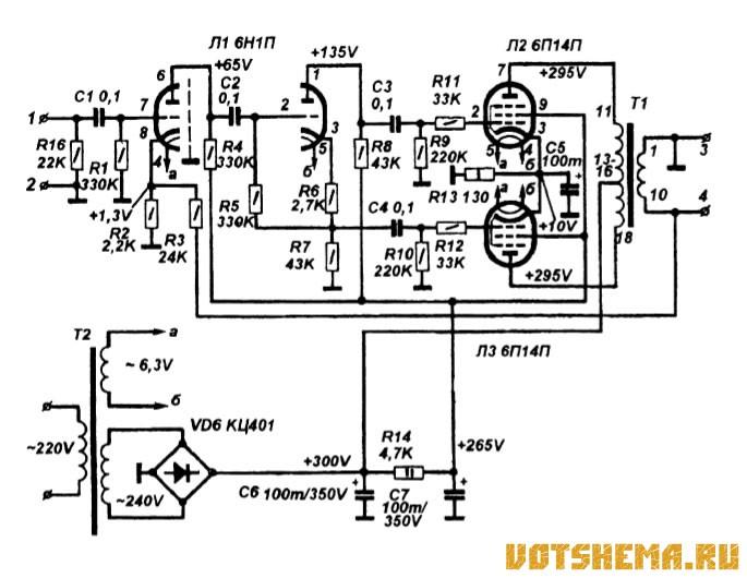 Усилитель стереофонический (для простоты на схеме показан один канал), развивает номинальную мощность на нагрузке 8...