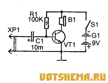 Схема самого простого усилителя звука