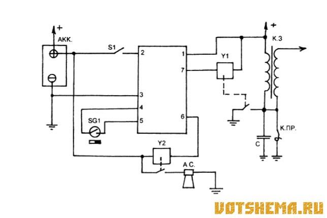 Схема автосигнализации на микросхеме К176ИЕ12.