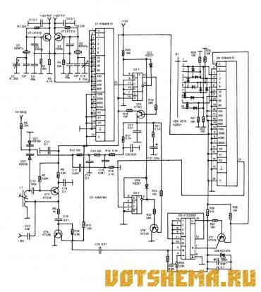 Схема синтезатора для СВ-радиостанции на КХ174ХА42А.