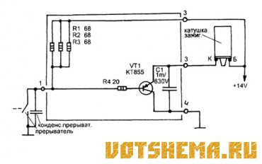 Схема простого коммутатора системы зажигания.