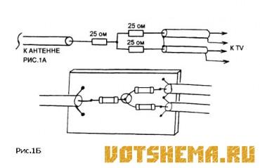 Схемы простых разветвителей телевизионной антенны.
