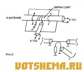 Схемы простых разветвителей телевизионной антенны