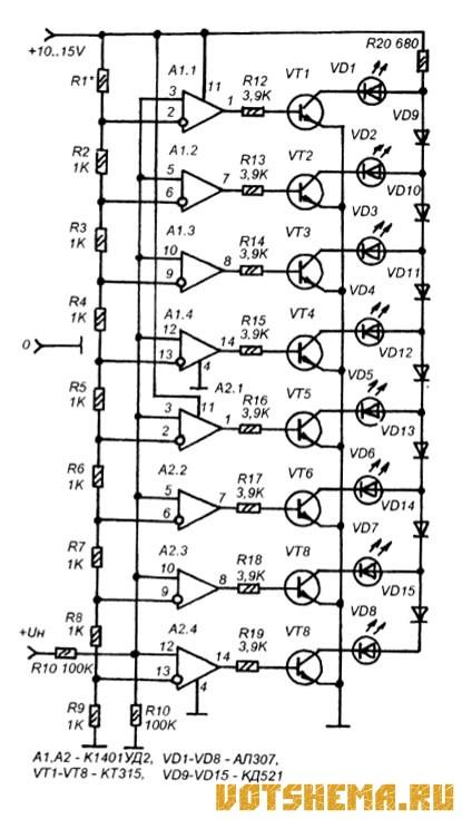 Схема светодиодной шкалы для