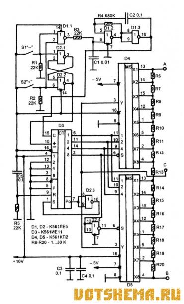 Схема цифрового регулятора мощности.