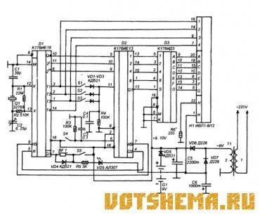 Электронные часы, построенные на основе комплекта микросхем К176ИЕ18, К176ИЕ13, К176ИД3, обычно работают на цифровое...