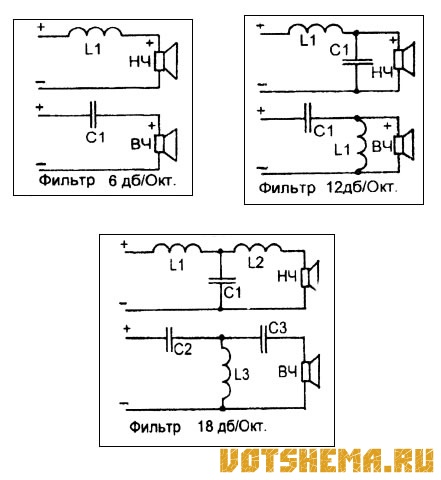 Схема двуполосных акустических