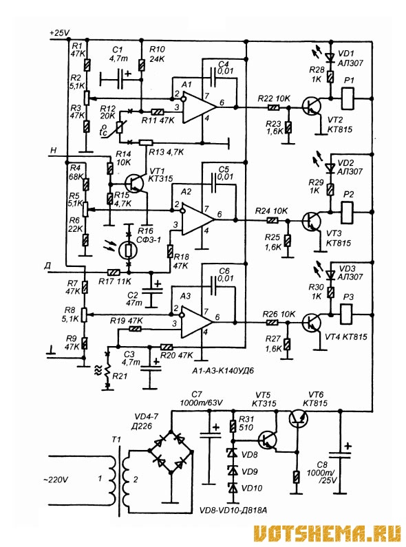 Рис 1 - принципиальная схема регулятора температуры