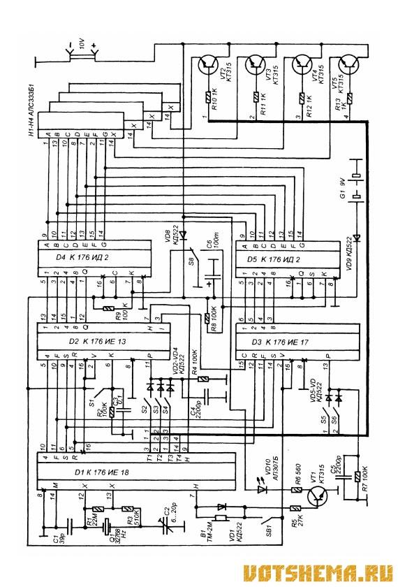 Схема часов-будильника с