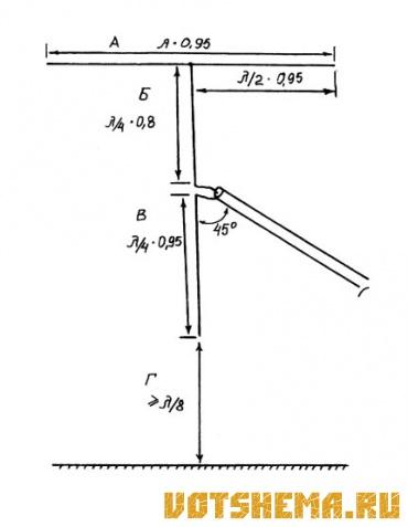 Схема комбинированной дипольной антенны.