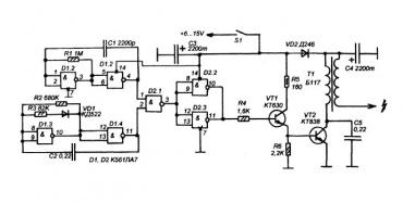 Импульсный высоковольтный генератор вот схема электронные схемы.