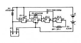 Схема электронных приборов на микросхеме К561ЛА7 (К176ЛА7)