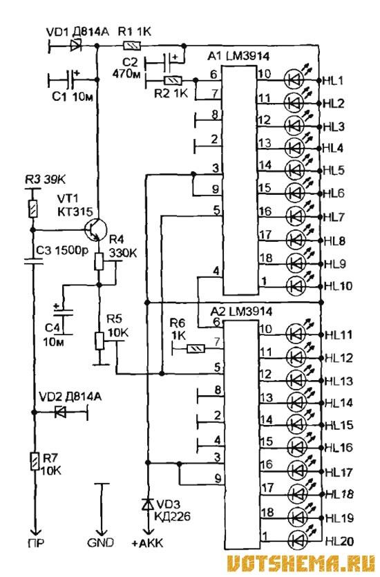 Схема аналогового тахометра на