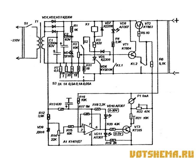 Схема лабораторного источника питания 0-28В.