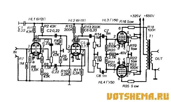 Схема лампового усилителя Hi-