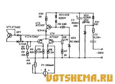 Схема простого электронного термометра