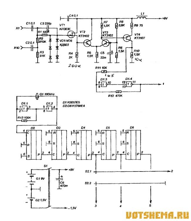 Схема карманного частотомера