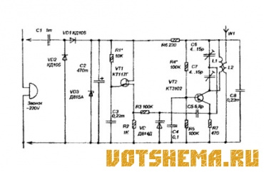 Схема беспроводного дверного звонка