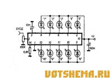 """LB1411 - микросхема фирмы  """"Sanyo """" имеет корпус типа DIP-16.  Содержит десятиполосовой усилитель-компаратор с..."""