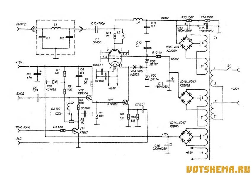 Схема усилителя мощности КВ