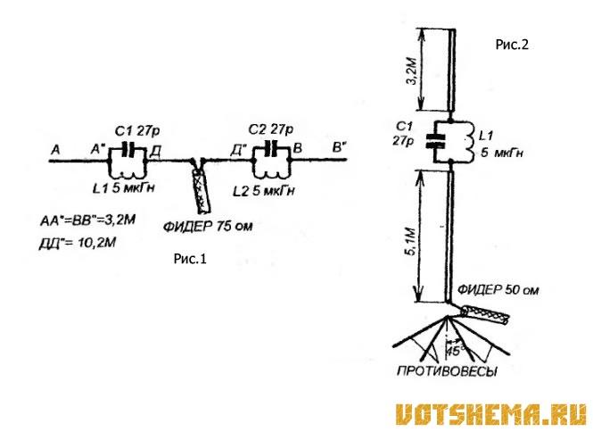 Схема КВ антенны на три
