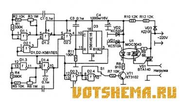 Схема таймера включения нагрузки 220В