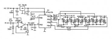 Схема цифрового индикатора НЧ сигнала